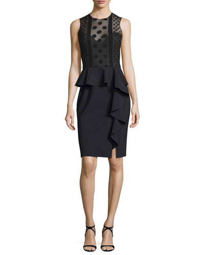 Sleeveless Tulle & Crepe Illusion Cocktail Dress, Black