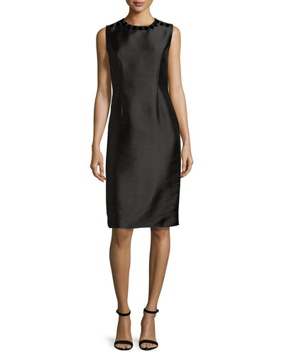 Sleeveless Embellished Taffeta Shift Dress, Black