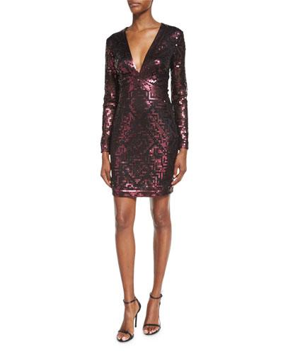 Long-Sleeve Sequin Grid Sheath Dress, Raisin
