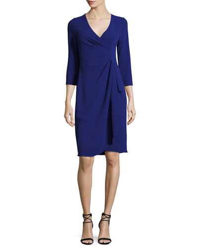 3/4-Sleeve Draped Sheath Dress, Royal