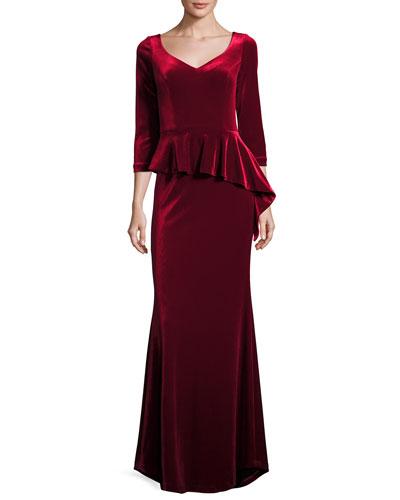3/4-Sleeve Velvet Peplum Dress, Merlot