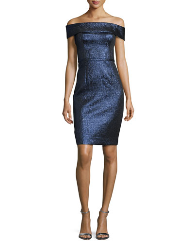 Off-the-Shoulder Metallic Sheath Dress, Sapphire