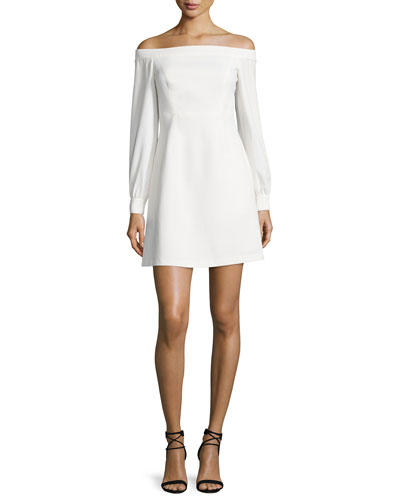Long-Sleeve Off-the-Shoulder Crepe Dress, Ivory