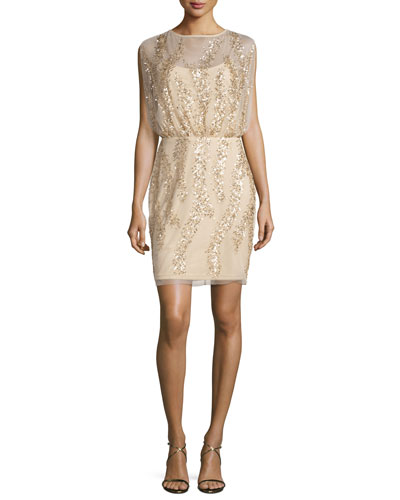 Sleeveless Embellished Tulle Cocktail Dress, Light Gold