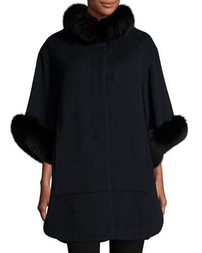 3/4-Sleeve Felted Fur-Trim Coat, Navy/Black