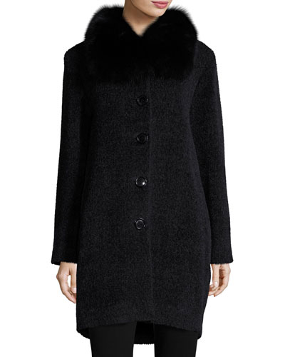 Textured Fox-Trim Coat, Charcoal/Black