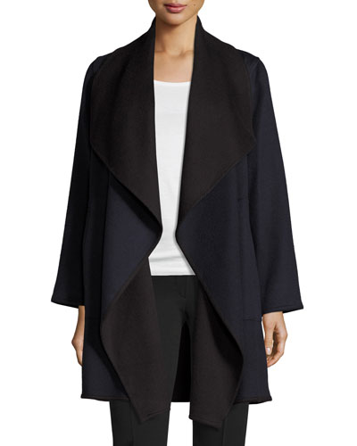 Double-Face Cascade Coat, Navy/Black