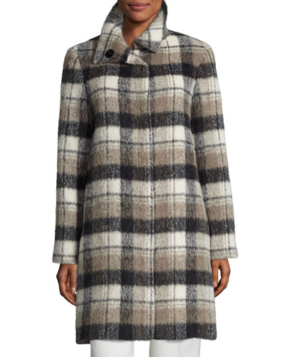 Plaid Alpaca-Blend Coat, White/Black