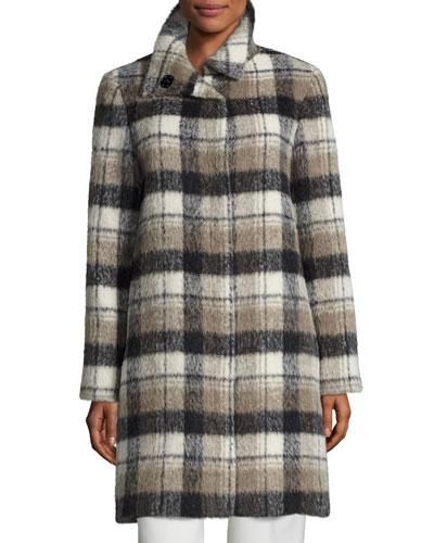 Plaid Alpaca-Blend Coat, White/Black