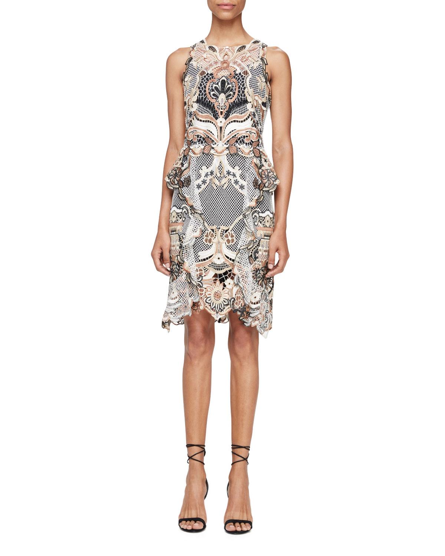 Sleeveless Crochet Sheath Dress, Champagne/Multicolor