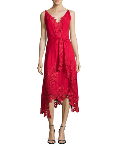 Sleeveless Silk Lace-Trim Midi Dress, Crimson
