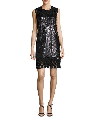 Sleeveless Sequin & Lace Shift Dress, Hematite