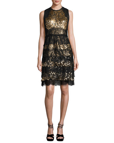 Sleeveless Tiered Lace & Sequin Cocktail Dress, Gold