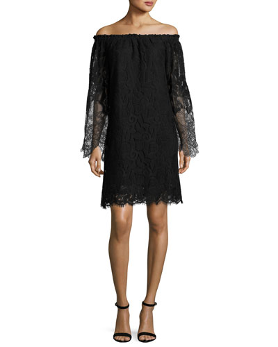 Off-the-Shoulder Floral Lace Shift Dress, Black