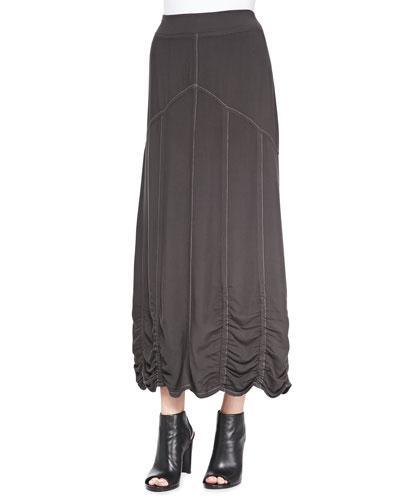 Alva Ruched Twill Maxi Skirt
