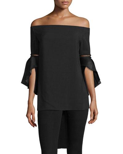 Off-the-Shoulder Bell-Sleeve Top, Black