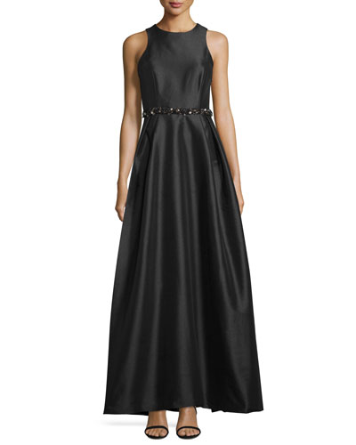 Cross-Back Evening Gown, Black