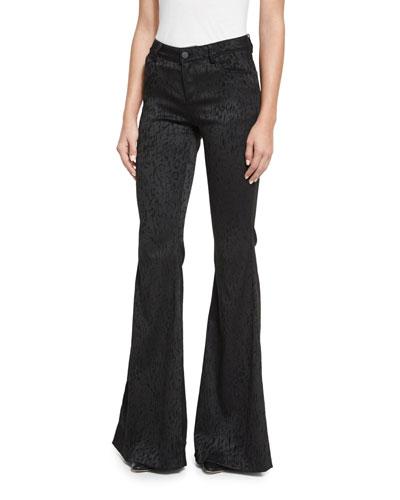 Drew Five-Pocket Leopard-Print Pants, Black