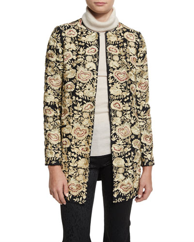 Rory Floral Embroidered Collarless Jacket