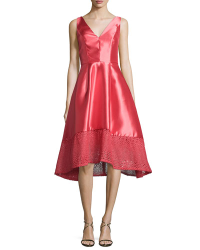 Deep V High-Low Cocktail Dress, Melon