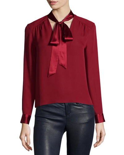 Irma Satin-Trim Necktie Blouse