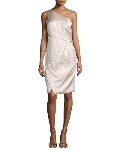 Metallic One-Shoulder Cocktail Dress, Petal