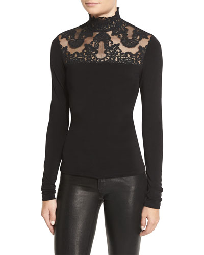 Jennine Lace-Yoke Long-Sleeve Top