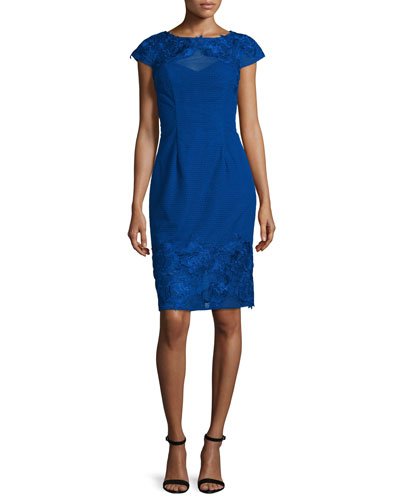 Lace Open-Back Embroidered Cocktail Dress, Royal