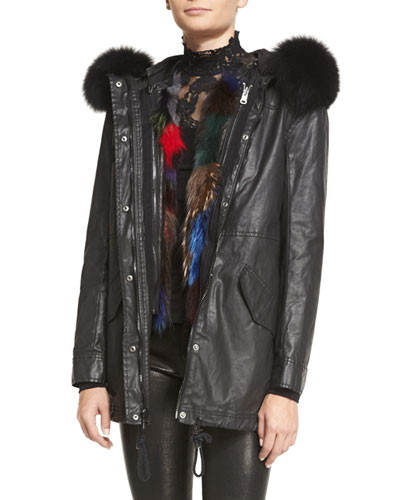 Tandy Oversized Hooded Parka & Detachable Patchwork-Fur Vest