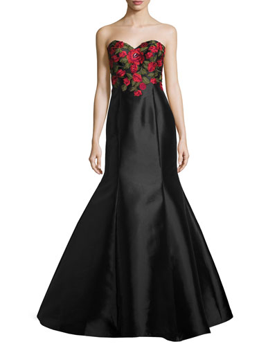 Strapless Embroidered Satin Gown, Black/Multicolor
