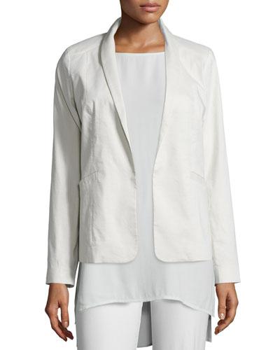 Polished Ramie Stretch Jacket, Bone, Petite