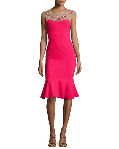 Cap-Sleeve Embroidered Flounce Dress, Magenta