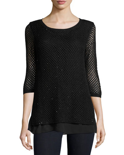 Sequined Open-Weave Cashmere Top