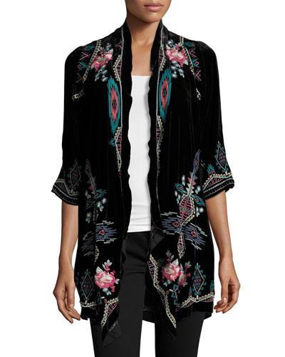 Aveza Draped Velvet Coat