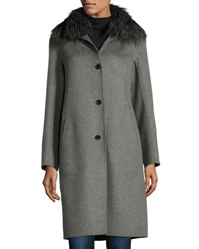 Cashmere Coat with Detachable Fur Collar