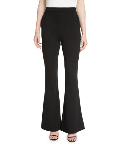 Ribbed Super Flare-Leg Pants, Black