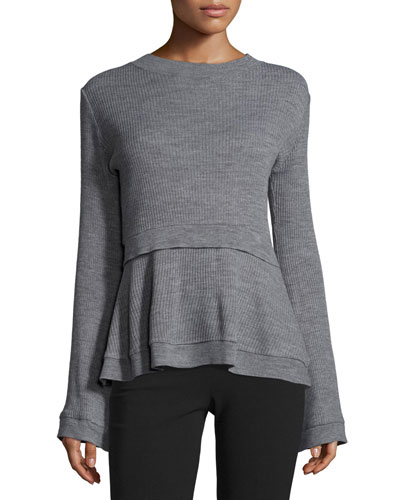 Ribbed Peplum Sweater, Gray