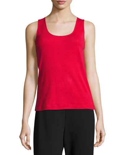 Soft Scoop-Neck Tank, Red, Plus Size