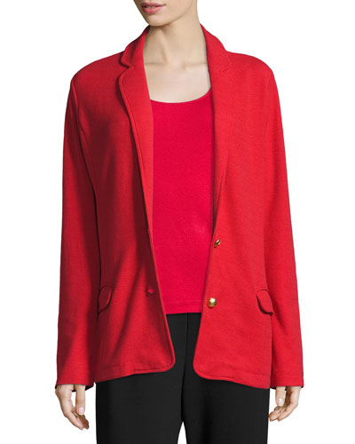 Plus Size Two-Button Long Pique Blazer, Classic Red