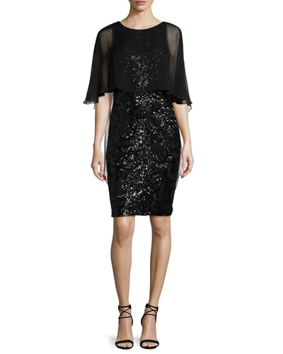 Sequined Capelet Sheath Dress, Black