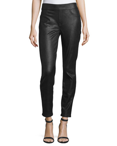Napa Leather-Like Ponte Skinny Jeans, Black