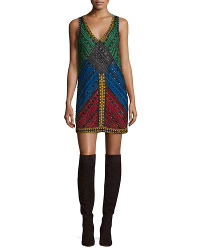 Nadia Embellished V-Neck Shift Dress