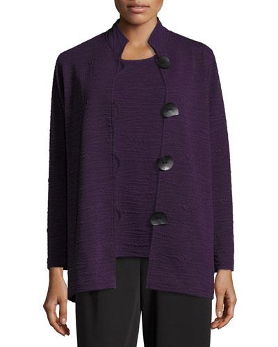 Textured Knit Mandarin-Collar Jacket, Plus Size