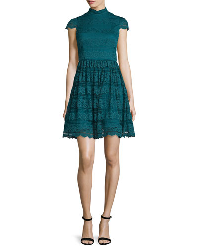 Maureen Lace Open-Back Party Dress, Turquoise