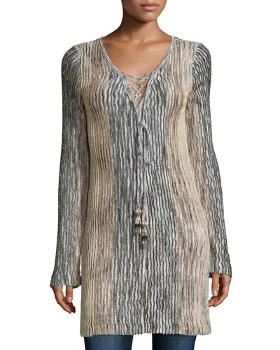 Maviale Metallic Ribbed Lace-Up Tunic Sweater