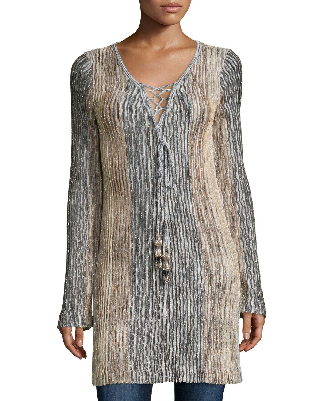 Maviale Metallic Ribbed Lace-Up Tunic Sweater