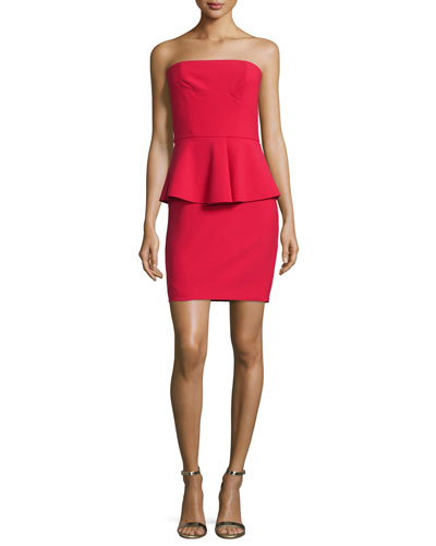 Laurel Strapless Peplum Mini Dress, Cardinal