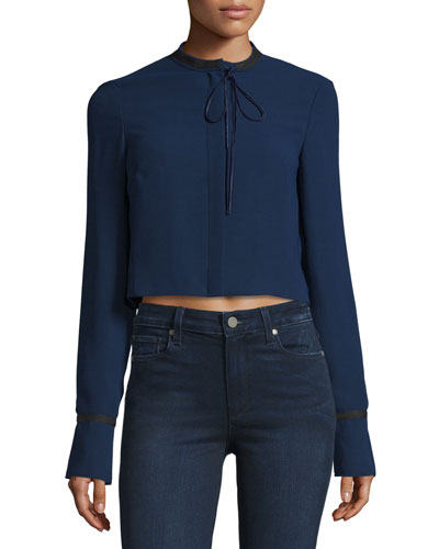 Newkirk Cropped Tie-Front Jacket, Royal