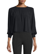 Juniper Shirred Boxy Jersey Top, Black