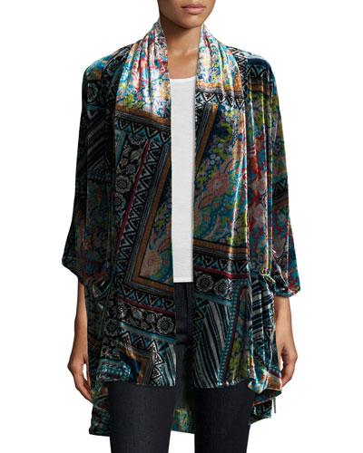 Frame Velvet Geometric-Print Kimono, Multi, Plus Size